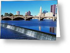 Scioto River With Waterfall Greeting Card