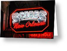 Scores Neon  Greeting Card