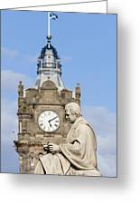 Scott Statue And Balmoral Clock Tower Greeting Card