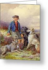 Scottish Boy With Wolfhounds In A Highland Landscape Greeting Card by James Jnr Hardy