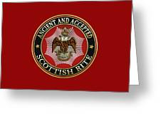 Scottish Rite Double-headed Eagle On Red Leather Greeting Card