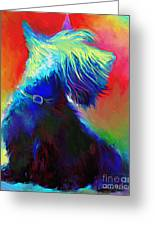 Scottish Terrier Dog Painting Greeting Card by Svetlana Novikova