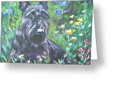 Scottish Terrier In The Garden Greeting Card