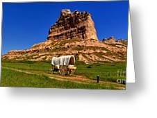 Scotts Bluff Wagon Train Panorama Greeting Card