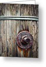 Screw Attached To A Wooden Beam Greeting Card