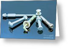 Screwbolts Screw Nuts, Hanger And Bolt Washers On Blue Background Construction Concept. Greeting Card