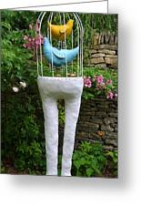 Sculpture Birds Cage And Legs Greeting Card