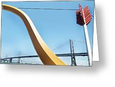 Sculpture By San Francisco Bay Bridge Greeting Card