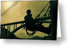 Sculpture - Hoover Dam Construction Worker Greeting Card