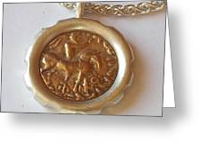 Scythian King Ancient Coin Necklace Greeting Card by Clayton Peshlakai