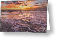 Sea At Sunset In Algarve Greeting Card