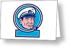 Sea Captain Smoking Pipe Circle Retro Greeting Card