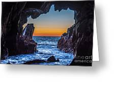 Sea Cave Sunset Greeting Card