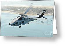 Sea Hawk Helicopter Flies Over  San Diego Greeting Card