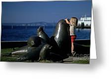 Sea Lion Sculpture  Greeting Card