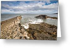 Sea Meets Rocks At Howick Greeting Card