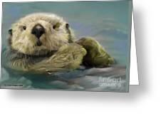 Sea Otter Greeting Card by Crispin  Delgado