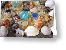 Sea Shells Art Prints Blue Seaglass Sea Glass Coastal Greeting Card