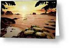 Sea Shore.sunset Greeting Card