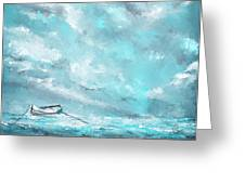 Sea Spirit - Teal And Gray Art Greeting Card