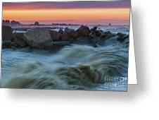 Sea Storm At Sunset Greeting Card