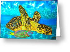 Sea Turtle And Parrotfish Greeting Card