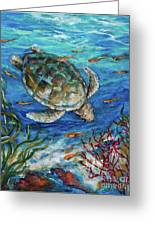 Sea Turtle Dive Greeting Card