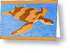 Sea Turtle Inlay In Vibrant Colors Greeting Card