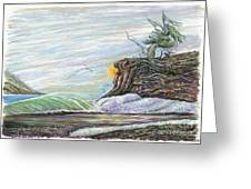 Sea Waves With Clouds And Gulls Greeting Card