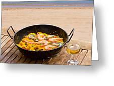Seafood Paella In Cafe Greeting Card