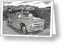 Seagrave Gmc Firetruck Greeting Card