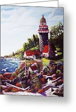Seagull Cove And Lighthouse Greeting Card