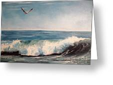 Seagull With Wave  Greeting Card