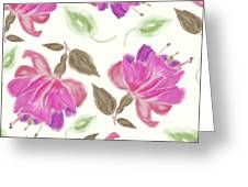 seamless   pattern of watercolor Fuchsia Flowers Greeting Card