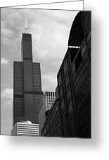 Sears Tower B-w Greeting Card