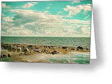 Seascape Cloudscape Retro Effect Greeting Card