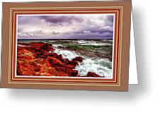 Seascape Scene On The Coast Of Cornwall L B With Alt. Decorative Ornate Printed Frame. Greeting Card