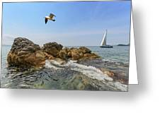 Seascape With A Yacht Greeting Card