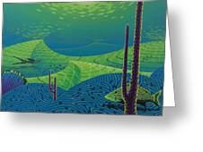 Seascape With Brain Coral And A Blue Striped Grunt Greeting Card