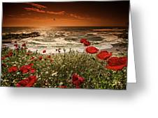 Seascape With Poppies Greeting Card