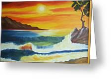 Seashore And Sunrise Greeting Card