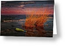 Seaside Bottle At Sunset Greeting Card