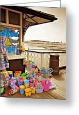 Seaside Buckets And Spades For Sale On Llandudno Pier Greeting Card