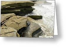 Seaside With Rocks On Left Greeting Card