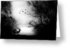 Seasons End Deer Geese Greeting Card
