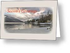 Season's Greetings- Cabin On The Lake Greeting Card