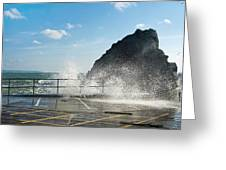 Seaspray At Mevagissey Harbour 2 Greeting Card