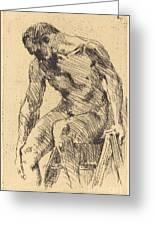 Seated Male Nude (sitzender M?nnlicher Akt) Greeting Card