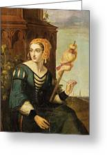 Seated Noble Lady With Distaff Greeting Card
