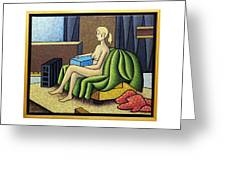 Seated Nude With Red Robe-framed Greeting Card